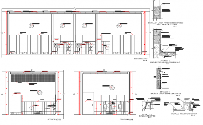 Wall section detail and toilet elevation detail dwg file