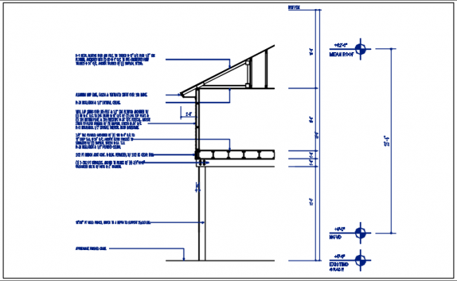 Wall section detail with foundation details and floor divided naming all of the material, with dimension details