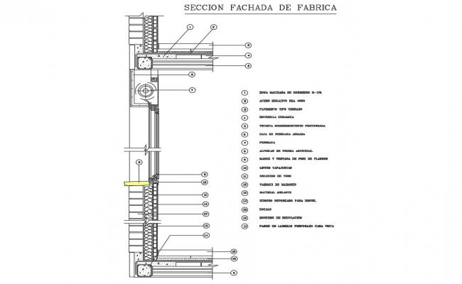 Wall section details by flat slab cad structure details dwg file