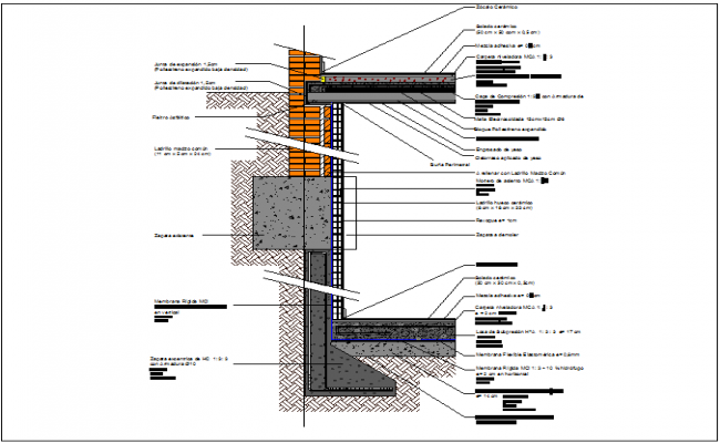 Wall section plan and Column cross section view of building dwg file