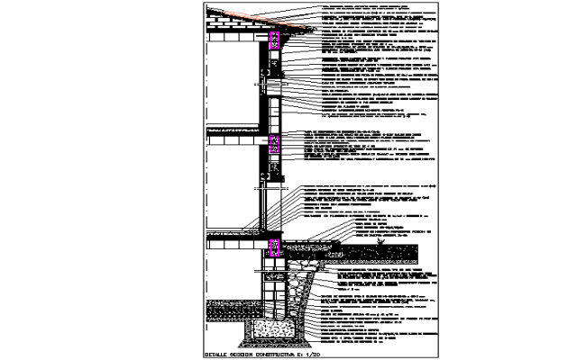 Wall section plan detail dwg file