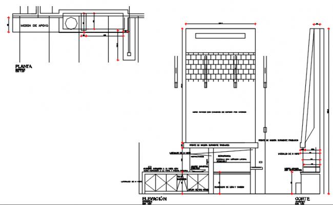 Wall section view of garden area detail dwg file