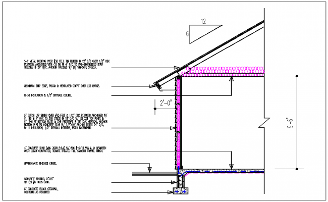 Wall section  view  of house  detail and roof plan  layout dwg