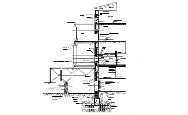 Wall structural sectional elevation 2d view layout file