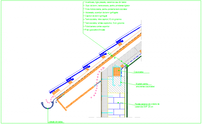 Wall view with construction detail dwg file