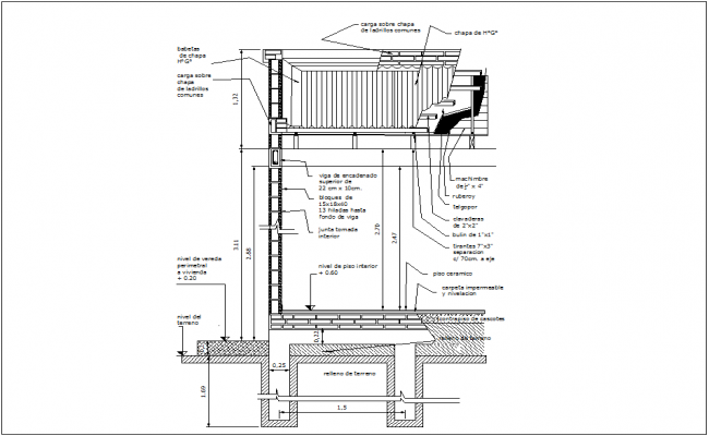 Wall view with metal sheet wit construction detail dwg file