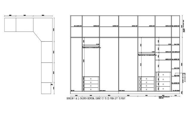 Wardrobe Plan and Elevation CAD Block