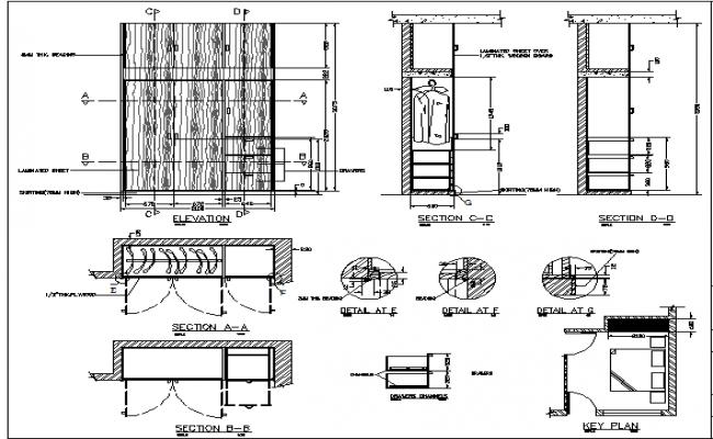 Wardrobe Plan Elevation Section : Wardrobe details dwg file