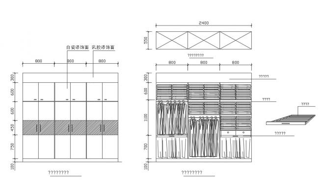 Front Elevation Wardrobe Autocad : Wardrobe of bedroom elevation and structure cad drawing
