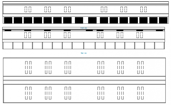 Ware house all sided elevation details dwg file