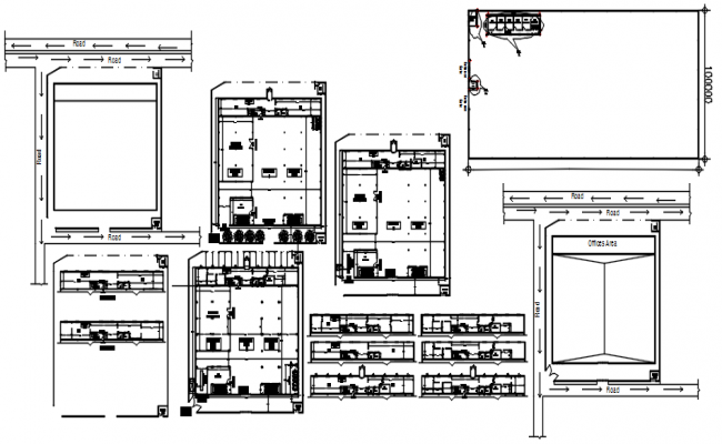 Warehouse plan with detail dimension in AutoCAD