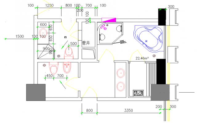 Wash Area & Bathroom Detail