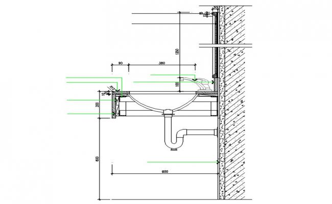 Wash Basin Side Elevation Design DWG File