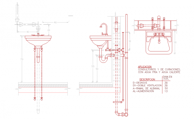Wash basin elevation autocad block, Wash basin elevation plan