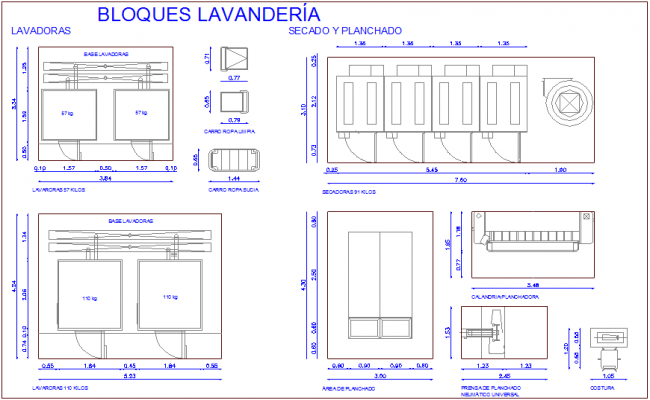 Washing area with laundry block view for hospital dwg file