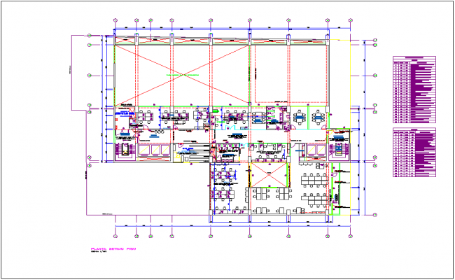 Washington office building seventh floor plan with door and window detail dwg file