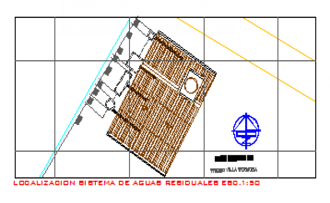 Waste water system location layout design drawing of bungalow design