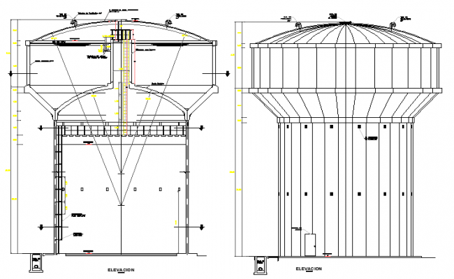 Water Storing Tank Design and Elevation Plan dwg file
