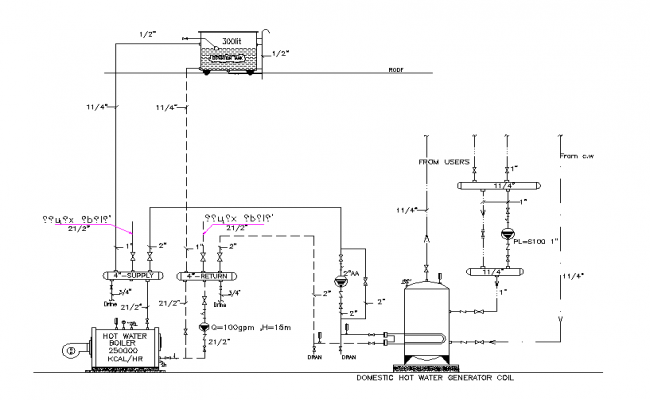Water boiler drawing in autocad