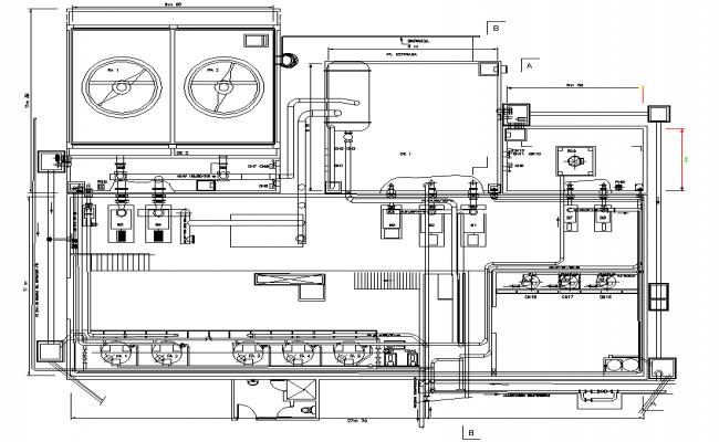 Water circuit in steel planet 3 side detail dwg file