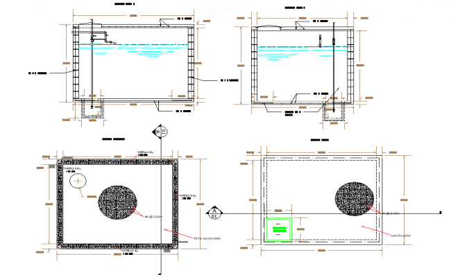 Water cistern plan and section layout file