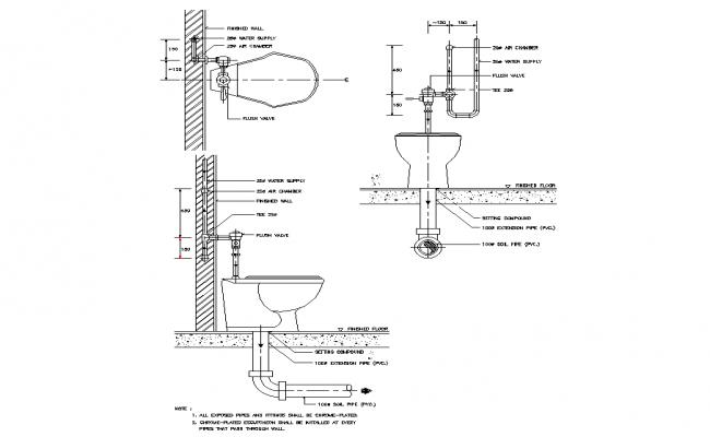 Water closet flush valve plan detail dwg file