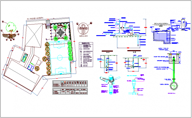 Water irrigation system with pipe line view of school dwg file