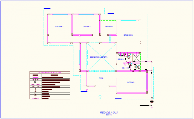 Water network view with legend and plumbing detail of office dwg file