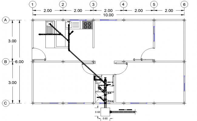 Water pipe house detail dwg file