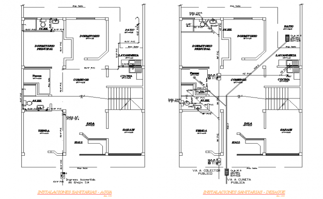 Water pipe house plan detail autocad file