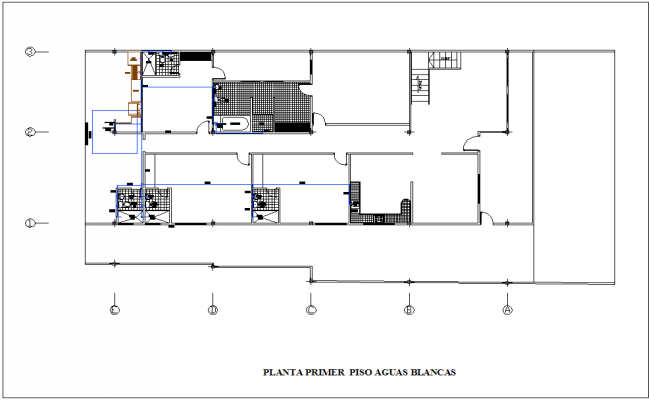 pipe line view with single line of first floor plan of housing dwg file