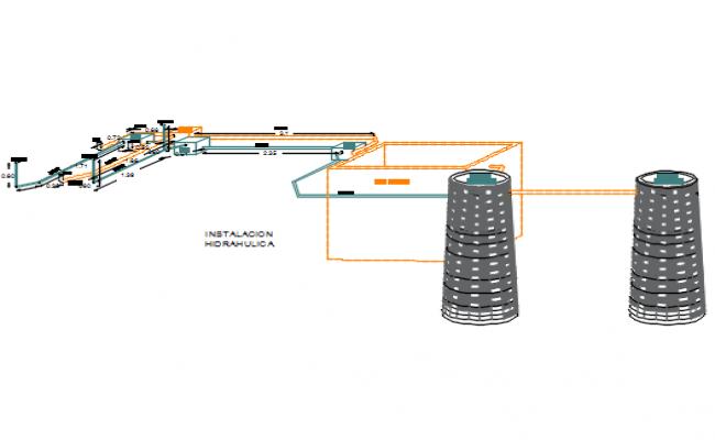 Water pipe motor 3 D elevation detail dwg file