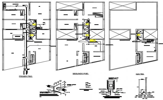 Water piping plan detail dwg file