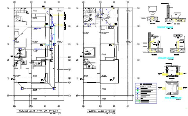 Water plumbing plan and elevation detail dwg file