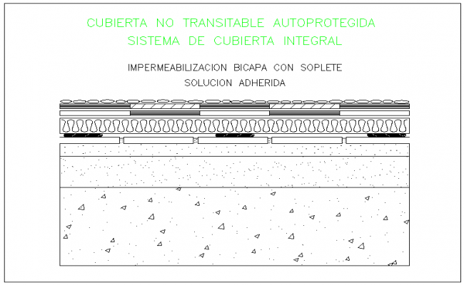 Water proofing of concrete detail dwg file