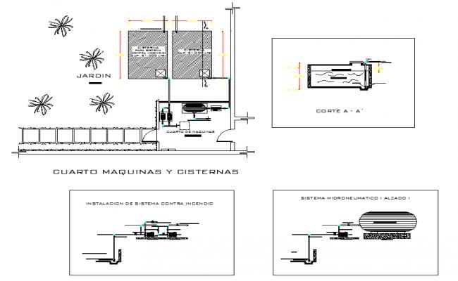 Water pump room plan detail dwg file