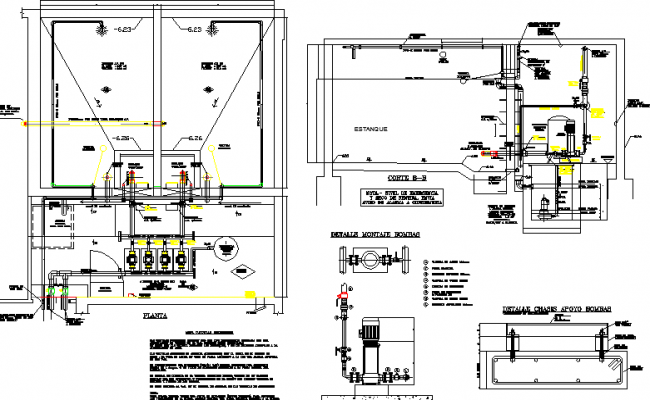 Water reservoir tank architecture project dwg file