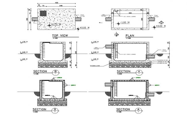 Water septic tank section, plan, top view and auto-cad details dwg file