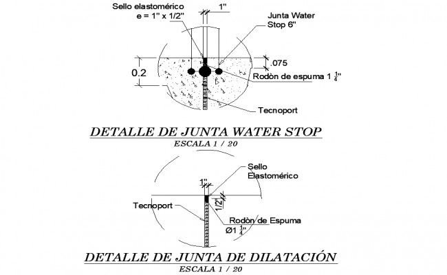 Water stop joint detail dwg file