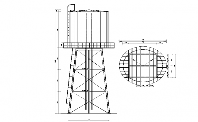 Water storage and tank elevation dwg file