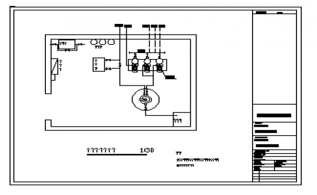 Water supply pipe in the equipment room layout design drawing