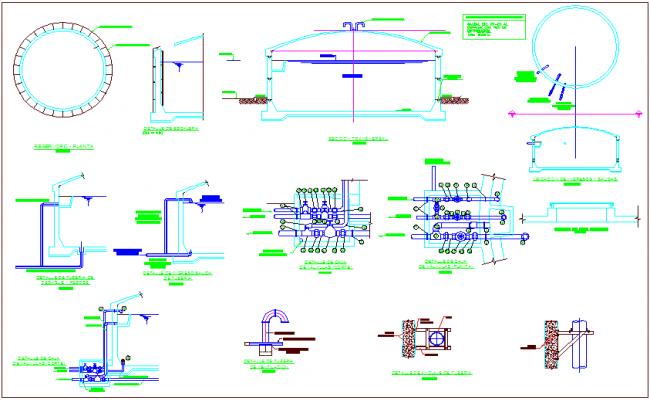 Water supply plumbing detail of reservoir dwg file