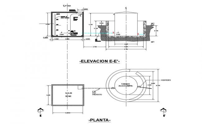 Water tank elevation, section and plan cad drawing details dwg file