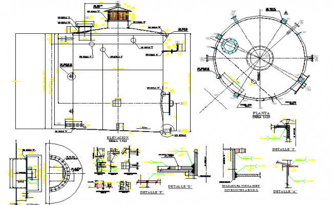 Water tank of residential building architecture project dwg file