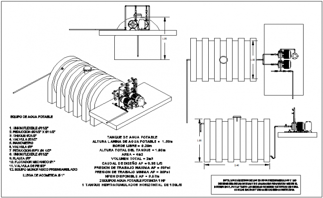 Plan Elevation And Isometric View : Water tank plan elevation and isometric view with plumbing