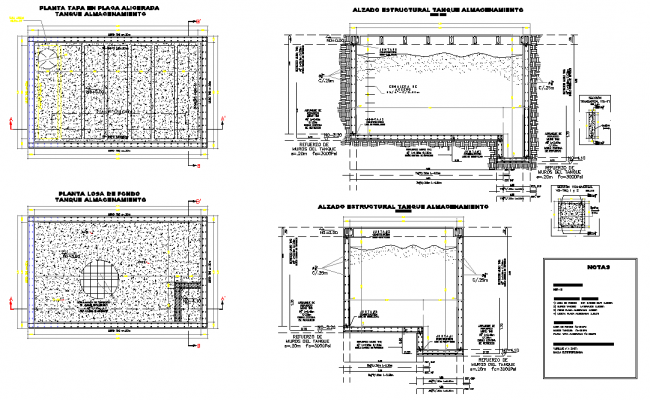 Water tank plan and section dwg file
