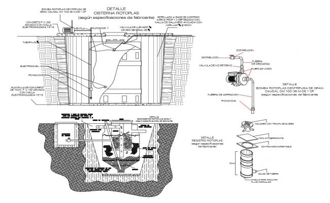 Water tank structure and gas installation cad drawing details dwg file