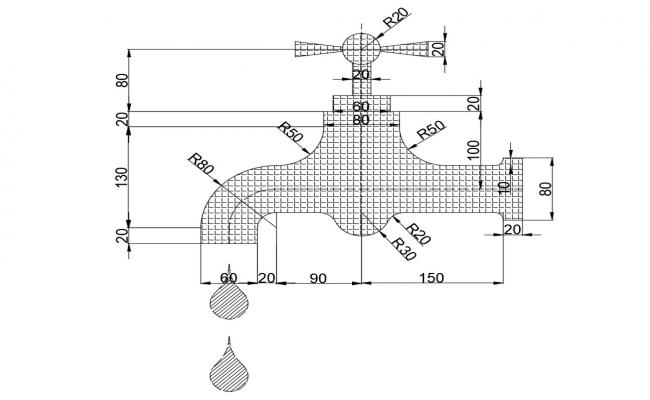 Water tap section block cad drawing details dwg file