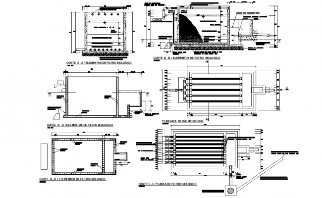 Water treatment plant plan and section layout file