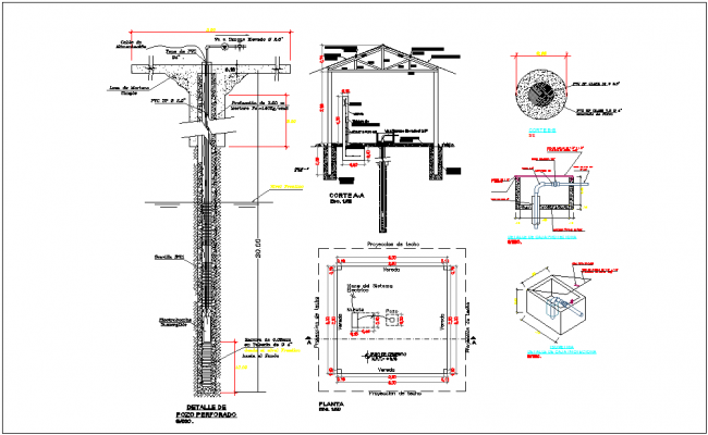 Water well foundation section view detail dimensions, naming  structure stdenotation dwg file